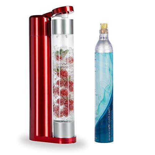 Levivo Wassersprudler Fruit & Fun Sprudler Slim, mit 1-Liter-Sprudlerflasche und CO2-Kohlensäure-Kartusche, Kohlensäure für Wasser, Cocktails und andere Getränke, Farbe rot und silber