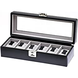 """Davidt's Unisex Watch Box For 6 Watches """"Chrome"""" 378806.01 Black"""