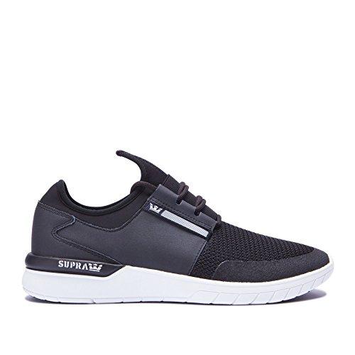 Supra Mens Flow Run Black Black White Skate Shoes