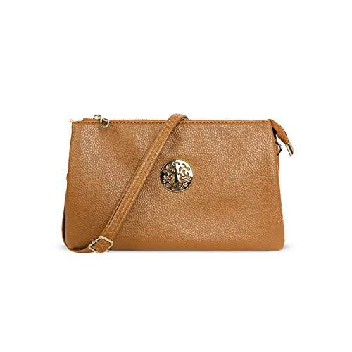 Anna Smith Clutch Geldbörsen für Frauen Crossbody Handy Wallet PU Leder Multi Handtasche mit abnehmbarem Riemen Prom Leder Kleine Wristlet Shoulder Bag Leichte Reißverschlusstasche Braun -