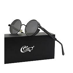 f4f3fae0cb CGID E72 Steampunk estilo retro inspirado c rculo met lico redondo gafas de  sol polarizadas para ...