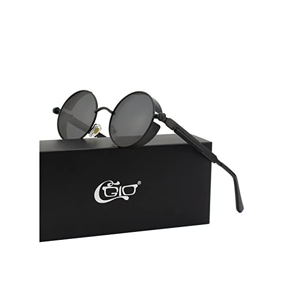 88159a42634 CGID E72 Retro Steampunk Style Unisex Inspired Round Metal Circle Polarized  Sunglasses for Men and Women