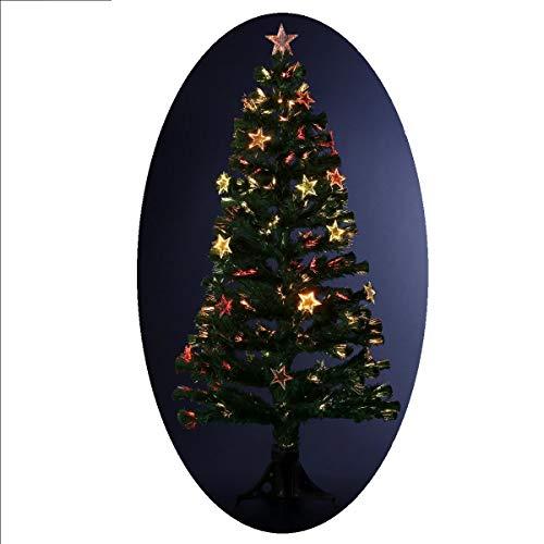 Albero di Natale artificiale luminoso con fibra ottica a luce variabile + 24 stelle luminose – consegnato col piede – Altezza: 150 cm