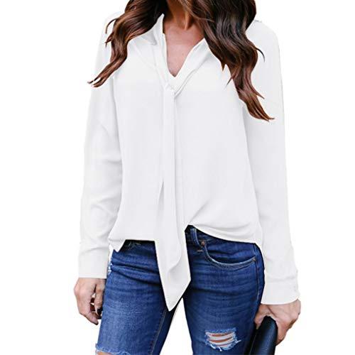Chemisier Femme Dentelle Tunique Haut Femme Chic Manches Longues Tops Blouse Pull Col Rond Patchwork T Shirt Casual T-Shirt Chemisier Blouse Covermason (Rose#6, XL)