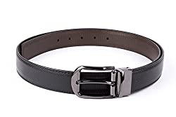 Mens Black & Brown Reversible 35mm Faux Leather Belt By Pacific Gold