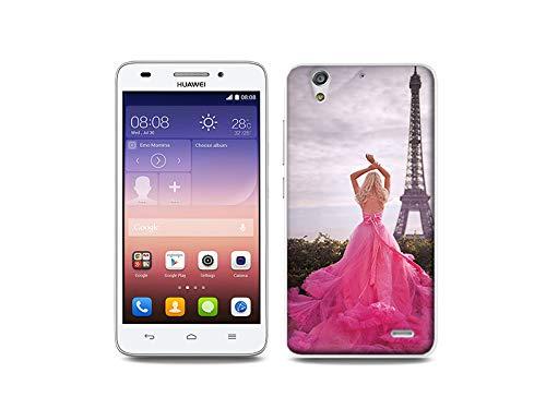 etuo Handyhülle für Huawei Ascend G620s - Hülle, Silikon, Gummi Schutzhülle - Rosa Kleid