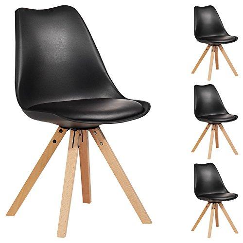 IDIMEX Lot de 4 chaises de Salle à Manger Tyson Style scandinave Design Nordique avec piètement en Bois Massif, siège baquet rembourré en Plastique Noir
