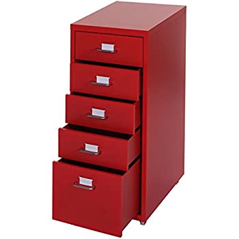 wei/ß 28 x 60 x 41 cm rot Germania 5016-142 Rollcontainer 5016