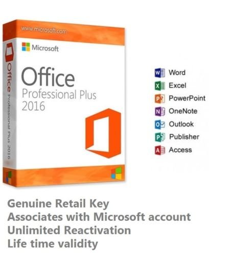 Microsoft Office 2016 Professional Plus Retail Activation Key for Windows (1 key for 1 PC)