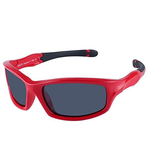 DUCO kinder sport style polarisierenden sonnenbrillen flexiblen rahmen für die jungen und mädchen k006 (Rot/Grau)