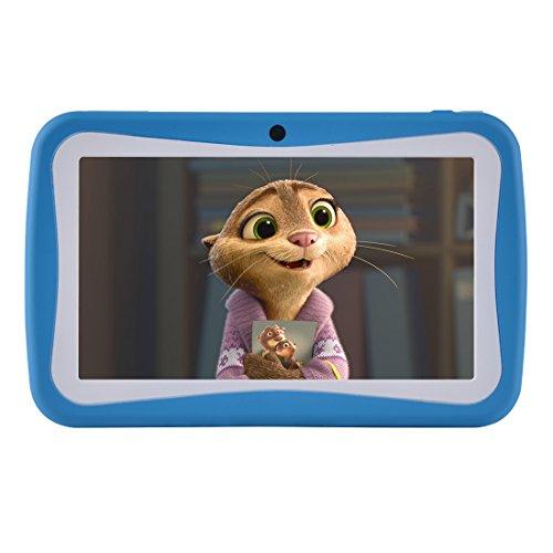Kinder Tablet 7 Zoll, Android 7.1 OS, iWawa Pre-Installed, Quad Core, HD Touchscreen, 1 GB RAM, 8 GB Speicher, Wifi, Bluetooth, USB, Dual-Kamera mit kindgerechte Silikon Hülle (Blau)