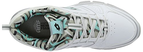 Lotto Andromeda Viii Lth Amf W, Chaussures de Running Entrainement Femme Blanc (Wht/Blu Tah)