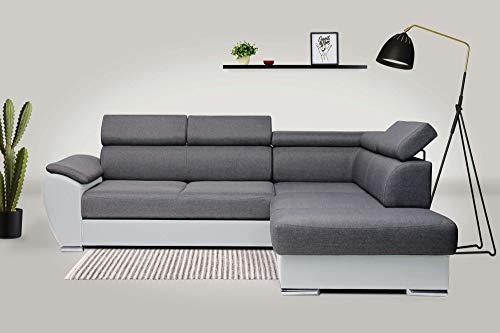 Bestmobilier - Barcelone - Canapé d'angle Convertible - avec tétières - en Simili et Tissu - Droit