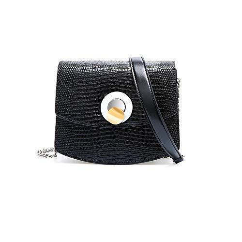 Yany Damen Umhängetasche Mode Leder Schultertasche Eidechse Druck Tote Bag Breite Schultergurt Crossbody Kleine Quadratische Tasche Damen Geldbörse (Color : Black) -
