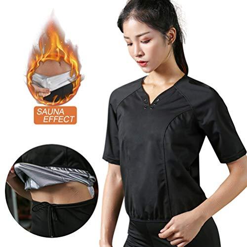 WFANX Sauna Hemd Damen Bauch Abmagerung Saunaanzüge zum Schwitzen Fettverbrennung Schweiß Anzug Damend Top mit V-Ausschnitt3XL