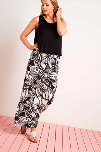 Roman Originals Women's Double Layer Print Maxi Dress – Ladies Summer Cruise Long Dresses – Black – 10