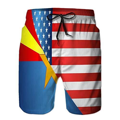 NA Bañador Shorts de Playa para Hombre Pantalones Cortos Casuales de poliéster Bandera USA Bandera...