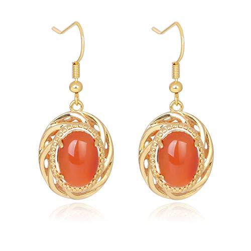 Orecchini pendenti ovali in pietra naturale in onice rosso vintage per orecchini a goccia color oro gioielli da donna e lega, colore: red agate, cod. 0623-bvytmeuzgxdz-2jmolu7