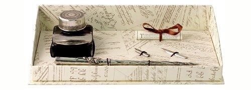 Coles Kalligraphie-Set mit Füller aus Zinn, 2Schreibfedern, 1Tintenfass