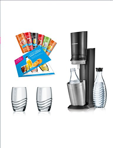 SodaStream Crystal 2.0 Promopack Glaskaraffen Wassersprudler Zum Sprudeln von Leitungswasser, inkl. 1 Zylinder, 2 Glaskaraffen 0,6l (spülmaschinenfest), 2 Trinkgläsern und 6 Sirupproben; Farbe: Titan - 7