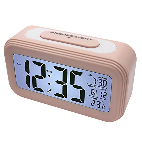 EASEHOME Sveglia Digitale Sveglia Elettronica, Sveglie da Comodino Grande LCD Sveglia Digitali Batteria Display Calendario Temperatura Allarme Sveglia Snooze Luce Notturna per Bambini e Adulti, Pink