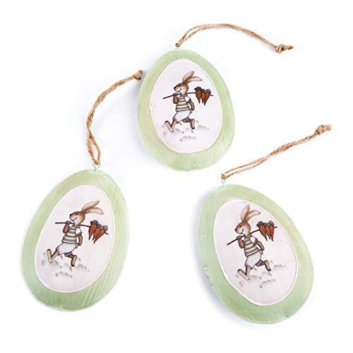 Logbuch-verlag - 3 ciondoli a forma di pasquale, in metallo, decorazione pasquale, colore: verde/bianco/beige