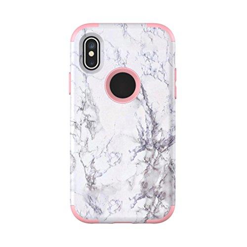Hkfv Amazing creative Gorgeous pattern cover Iphonex Phone case granito marmo contrasto color PC Cover rigida per iPhone x Pink