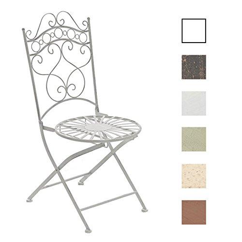 Stuhl Metall (CLP Eisenstuhl INDRA im Jugendstil | Metallstuhl mit Armlehnen | Antiker handgefertigter Gartenstuhl aus Metall | In verschiedenen Farben erhältlich Antik Weiß)
