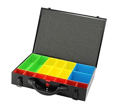 Metal Storage Screw Organiser Tool Box Compartment System Black Case
