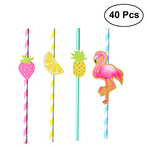 (ounona 40Stück Hawaii Party Papier Trinkhalme Deko Trinkhalme Tisch Luau Party Decor BBQ Hawaiian Thema Dekoration (Flamingo + Erdbeere + Ananas + Lemon))