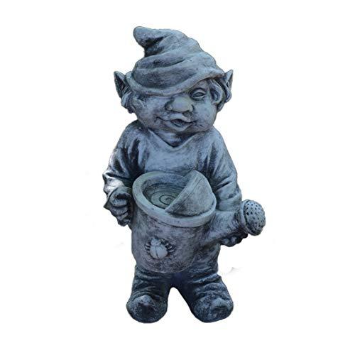 Massive Steinfigur lustiger Gnom Gartenfreund Troll Wichtel aus Steinguss, frostfest
