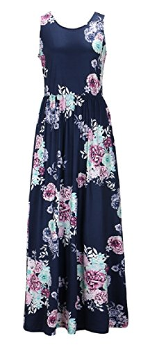 Walant Damen Ärmellos Drucken Maxi Kleid Lang Sommerkleid Strandkleid Navy Blau