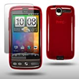 HTC DESIRE RED GEL COVER CASE WITH SCREEN PROTECTOR BY CELLAPOD CASES