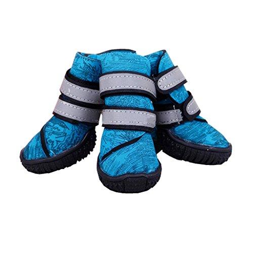 4pcs Botas de Lluvia Antideslizante Zapatos Impermeables para Perro Animal Doméstico Gato - 40 #, Azules