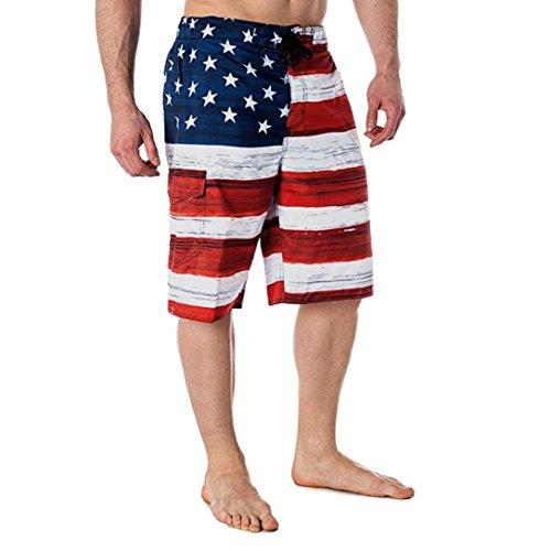 Dasongff Herren Flag Print Shorts Jogger Sport Traininghosen Strandshorts Kurze Badehose Badeshorts Boardshorts Freizeit Sommerhosen (2XL, Rot) (Hawaii-boardshorts)