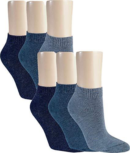 Vitasox 15277 Damen Kurzsocken Baumwolle Sneakersocken uni Damensocken ohne Naht Jeans-Töne 6er Pack 39/42