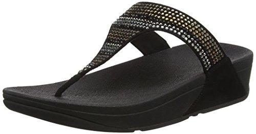 Fitflop Strobe Luxe Toe-Thong Sandals, Sandali Punta Aperta Donna Black (Black)
