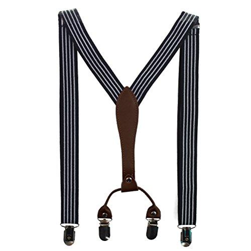 HABI mehrfarbig gestreift elastisch Hosenträger Y-Form Länge für Damen und Herren mit den starken Clips Playshoes in verschiedenen Designs (2) (Gatsby Kostüm Kinder)