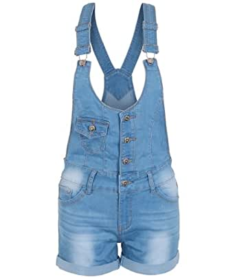 Womens Black Denim Skinny Stretch Jeans Dungarees Shorts Pin Up Playsuit Romper (Blue/Dungaree Shorts,10)