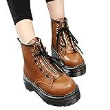 Tianwlio Frauen Herbst Winter Stiefel Schuhe Stiefeletten Boots Damen Runde Spitze Einzelne Schuhe Vordere Schnürstiefel Rutschfester Reißverschluss Damen Stiefel Gelb 35