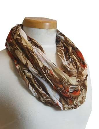 Tropiloop - farbenfroher Rundschal modischer Schal mit bunten tropischen Prints Crushed und Crinkled Frühling Sommer (null, braun)