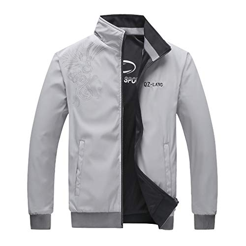 KPILP Herren Vintage Jacke Freizeit Sport Outdoor Zip Übergangsjacke Herbst Winter Jacken Outwear Winddicht Sportjacke Fahrradjacke mit Stehkragen