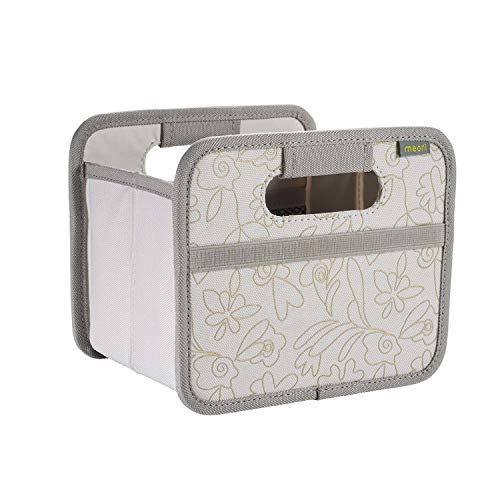 Faltbox Mini Natural Sand/Floral Gold metallic Print 16,5x12,5x14cm stabil Aufbewahrung Organizer Geschenkbox Dekoration Schmuck Sortieren Regal Blumenmuster