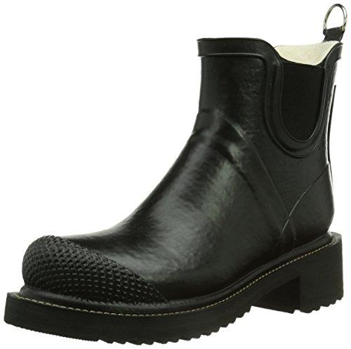 Ilse Jacobsen Stiefelette | Gummistiefel Kurzschaft Schuhe | Boots mit Absatz und Elastik Band schwarz innen und außen | RUB47 Schwarz 38 EU (Little Mix-outfits)