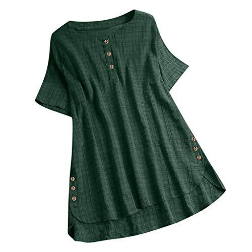 Overdose Oberteil Mode Frauen Kurzarm Knopf Baumwolle Leinen Casual Tunika Bluse Einfarbig Asymmetrisch Damen Tops T-Shirt Große Größen