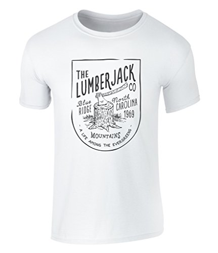 CALIFORNIA BLACK PLATE - The Lumberjack Company, Holzfäller, Holz Hacken, Waldmänner, Waldarbeit, North Carolina USA 1969 Badge Icon Vintage Style T-Shirt, S - XXL White