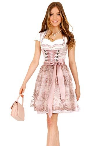 Krüger Dirndl Nalia 46685 50er Länge Rose rosa Perlen-Schürze (Nalia 50er Länge Rose, 36)
