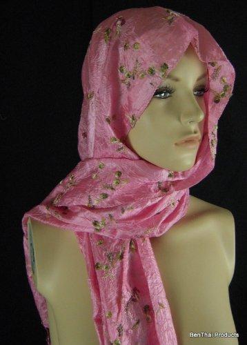 BTP Floral élégant brodé Thai Silk Écharpe/foulard de soie lisse cadeau - Pink B1