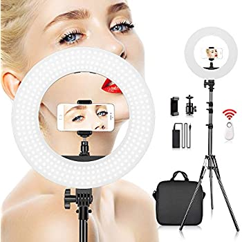 7c5808edca0 SAMTIAN LED Ring Light 14 inches Outer YouTube Light 180 Dimmable LED  Lighting Kit with 2M Light Stand, Cradle Head, Phone Holder for Video  Shooting, ...