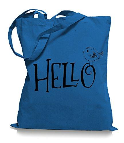 Ma2ca® Hello Bird - Jutebeutel Stoffbeutel Tragetasche / Bag WM101 Cornflower Blue